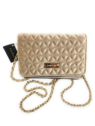 bebe Margeaux Crossbody Bag in Champ Quilted Velvet, Handbag, Purse, (Bebe Clutch)