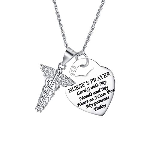 (BriLove 925 Sterling Silver Necklace for Women Caduceus Angel Nursing Themed Pendant Necklace)