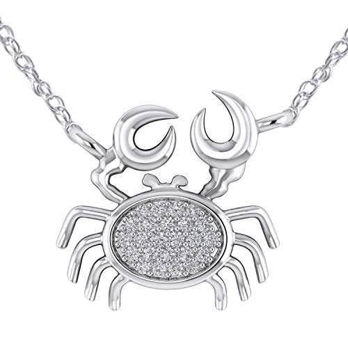 Pretty Jewels Beautiful Sea Crab Pendant Necklace in 925 Sterling Silver with 0.11 Ct Natural Diamond (I1-I2/G-H) (White-Gold-Plated-Silver) ()