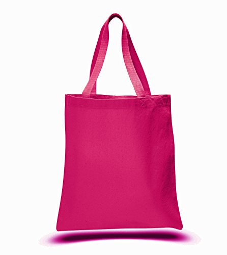 - Promotional Priced Heavy Cotton Canvas Shopping Blank Tote Bag Art Craft (Hot Pink)