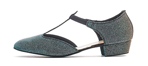 Ladies Girls All Colours Glitter Leather Dance Greek Sandal Teaching Jive Salsa Ballroom Cerco Shoe By Katz Dancewear (Blue/Gold Multi Glitter, Girls Size UK 2)