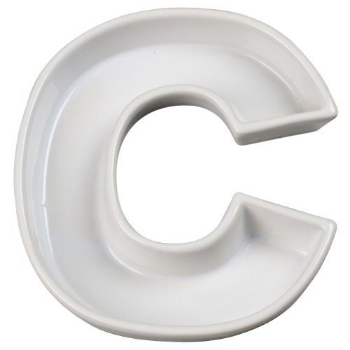 Ivy Lane Design Ceramic Love Letter Dish, Letter C, White