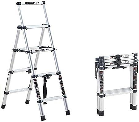 TUONAZDZ Robusto Telescópico Escalera con Bastidor de Aluminio Ligera extensión Multiuso portátil Plegable Paso Escalera, 330 Libras Capacidad de Carga (Size : 4 Steps): Amazon.es: Hogar
