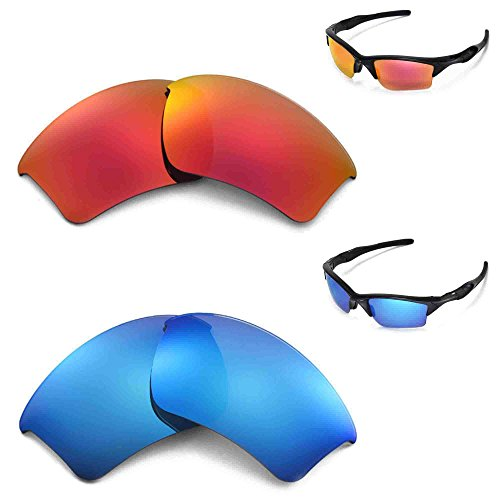 New Walleva Polarized Ice Blue + Fire Red Lenses For Oakley Half Jacket 2.0 (Transition Series 2 Jacket)