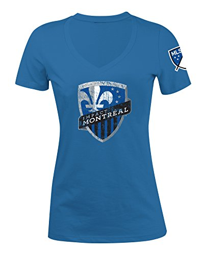 fan products of MLS Montreal Impact Women's Jersey Short Sleeve V-Neck Tee, Blue, Large