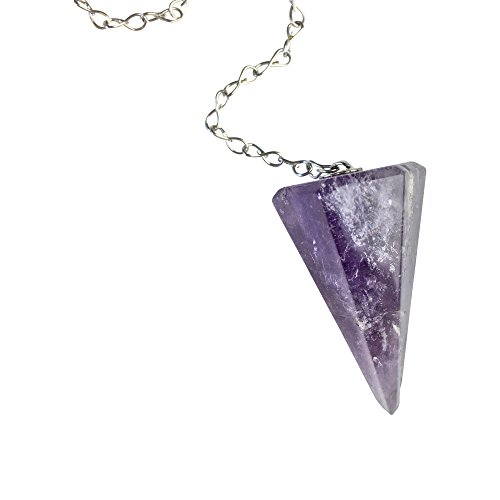 Luna Gem House Gemstone Pendulum with Sterling Silver Chain for Reiki Energy Work, Dowsing and Divination (amethyst) (Sterling Pendulum)