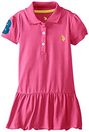 U.S. POLO ASSN. Little Girls' Solid Baby Pique Scalloped Hem Polo Dress, Pink Kite, 3T