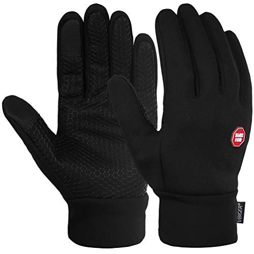 Vbiger Men Winter Warm Gloves Windproof Anti-slip Touch Screen Gloves Cold Weather Gloves Liner, Black (M)