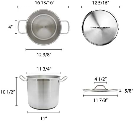 Thundergroup stainless steel stockpot with lid 20quarts NSF certified