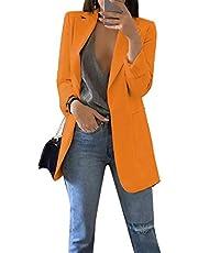 GRASWE Women's Casual Long Sleeve Blazer Jacket Cardigan Plus Size Work Blazer