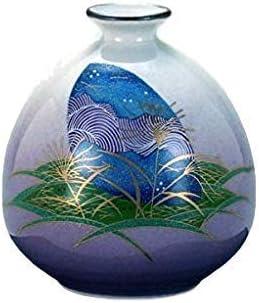 Vase Traditional Japanese Ancient Yuzen Kimono Pattern Kutani Yaki Ware