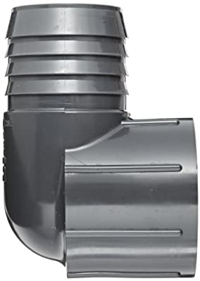 Spears PVC Tube Fitting, 90 Degree Elbow, Schedule 40, Gray, Barbed x NPT Female