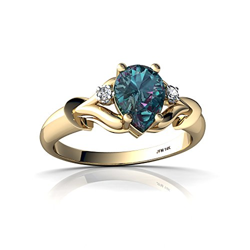 14kt Yellow Gold Lab Alexandrite and Diamond 7x5mm Pear Gothic Pear Ring - Size 9 (14kt Alexandrite Ring)
