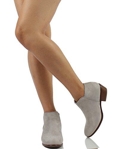 Round Women's Bootie Lt Imsu Ankle Heel Diva Grey Low Wild Stacked Heel Toe Western 1CE5qvT
