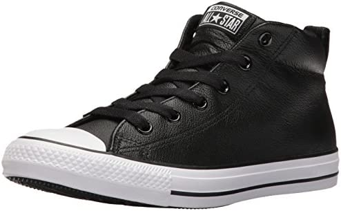 Converse Men's Street Leather Mid Top Sneaker, BlackWhite