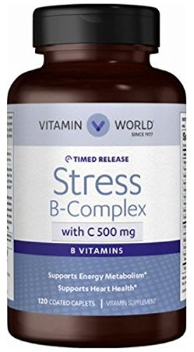 Vitamin World Stress B - Complex with C 500 mg Supports Energy Metabolism, Supports Heart Health, Vitamin Supplement 120 Coated Caplets (B-complex Caplet Vitamins)