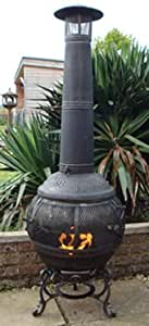 Castmaster Alfresco - Chimenea (hierro fundido, 360º) Parrilla para barbacoa incluida.
