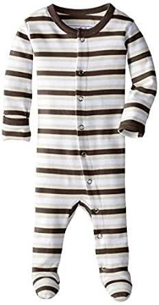 Lovedbaby Baby-Boys Organic Footed Overall, Bark Stripe, 0-3m