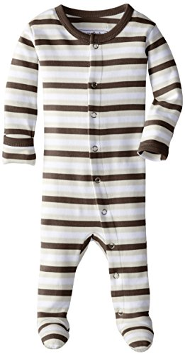 L'ovedbaby Unisex-Baby Organic Cotton Footed Overall, Bark Stripe, 6-9 Months