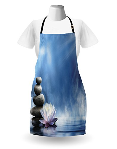Lunarable Spa Apron, Purity of the Zen Massage Magic Lily Stones Sunbeams Spirituality and Serenity Theme, Unisex Kitchen Bib Apron with Adjustable Neck for Cooking Baking Gardening, Blue White by Lunarable (Image #1)