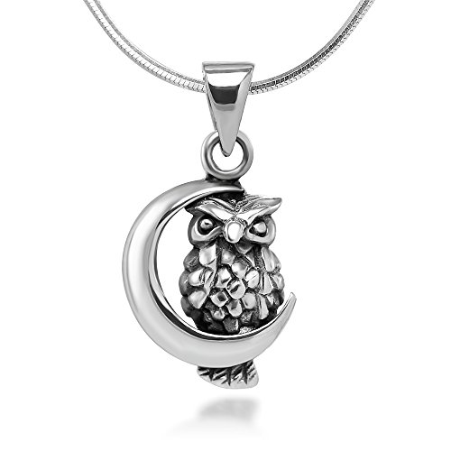 Chuvora 925 Oxidized Sterling Silver Tiny Little Owl with Crescent Moon Pendant Necklace, 18 inches