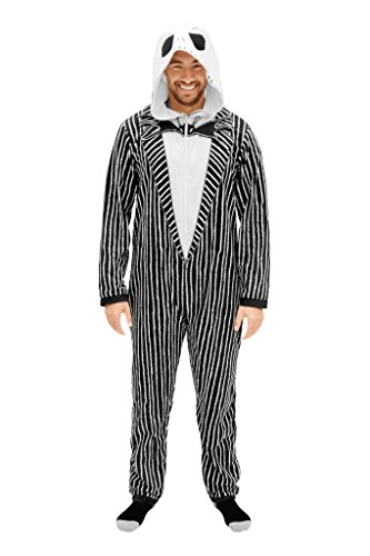 The Nightmare Before Christmas Jack Adult Union Suit Costume Pajama Onesie with Hood (Adult -