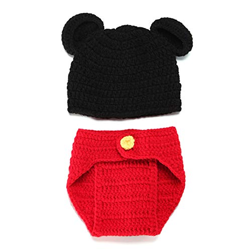 Gusta Newborn Baby Mickey Photography Props Cute Crochet Knit Hat Diaper Outfit (Knit Mickey Outfits Baby)