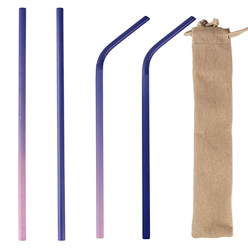 Color Changing Straws (8 inch Color Changing Straw Stainless Steel Reusable Drinking Straws with Cleaning Brush & Storage Bag (8)