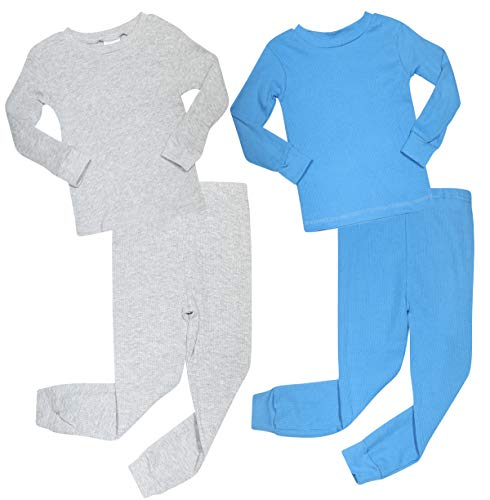 Mon Petit Infant & Toddler Boys 4-Piece Thermal Long Underwear Set (2 Full Sets), Grey/Royal, Size 18 ()