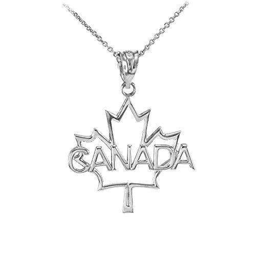 """Collier Femme Pendentif 14 Ct Or Blanc Ouvert Désign Feuille D'Érable """"Canada"""" Mot (Livré avec une 45cm Chaîne)"""