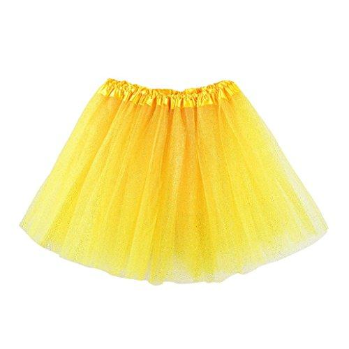 Fluffy Tutu Skirt MITIY Girls Kids Baby Dance Pettiskirt Ballet Fancy Dress Costume (3-8T, Yellow)