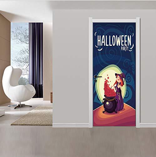 Svsnm Luna De Dibujos Animados Bruja De Halloween Habitación De ...