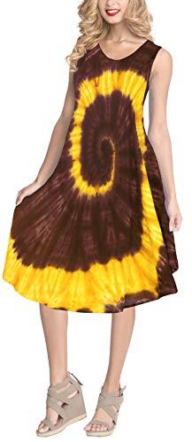 LA LEELA Women's Beach Dress Bath Suit Sports Outdoors Wear US 14-20W Brown_Y853