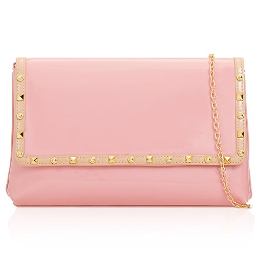 Designer Party Over Body Cross Studded Vintage Clutch Evening Handbag Flapover Patent Chain Bag London Pink Shine Women Xardi Strap Long Vinyl Large Wedding wqPn8Z