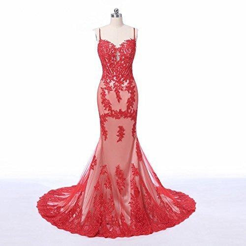 Red Spaghetti Straps Mermaid Lace Bridal Dresses for Wedding (Bride Spaghetti)
