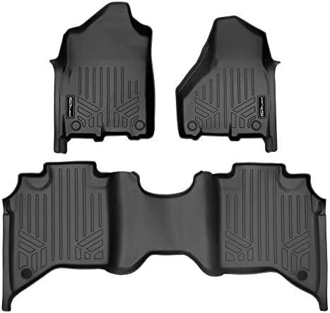SMARTLINER Custom Floor Mats 2 Row Liner Set Black for 2019-2021 Ram 2500/3500 Crew Cab with 1st Row Bench Seat
