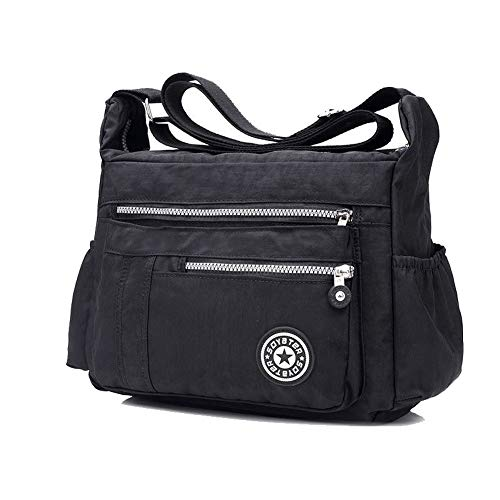SkyBlue Black Bags GMDBA206801 AgooLar Zippers Crossbody Casual Women's Bags Shopping Nylon zSwCzv