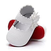 HONGTEYA Baby Girls Red Bottom Ballet Dress Shoes - Mary Jane Soft Sole Sidebow Toddler Moccasins