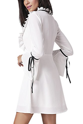 V-Neck trompette manches Swing a-line robe Yacun féminin