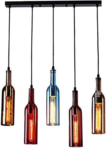 5-Light Vintage Industrial Colored Glass Pendant Light, Wine Bottle Creative Retro Chandelier for Cafe Loft Restaurant Kitchen Island Bar Dining Room Bar