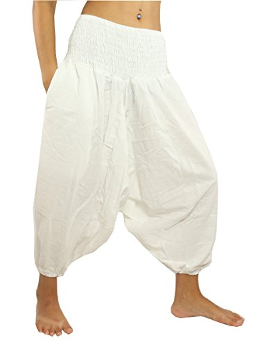 jing shop 3/5 Length Harem Aladdin Baggy Pants One Size Cotton White ()