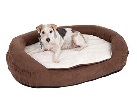 Dog Beds Marrón Acogedor – Cama Ovalada para con un Revestimiento de colchón de Espuma con