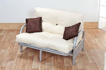 Awesome Ex Argos Stock Mexico Double 4Ft6 Tri Fold Silver Futon Sofa Bed Frame With Reflex Foam Flake Futon Mattress Cream Machost Co Dining Chair Design Ideas Machostcouk
