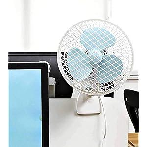 TALLIN Creative Desk Clip Electric Fan Mini Portable Shaking Head 2 Gear Home Desktop(White)