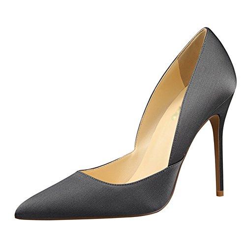 fereshte Women's Sexy Pointed-Toe Silk and Satin Metal Heel Slip-On High Heels Stilettos Dress Pump Gray