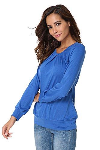 Rotondo shirt T Donna Collo Della Pieghettata Maglietta Camicia Superiore Lunga Casuale Tunica Allentato Del Parte Blu Manicotto qwTwzd