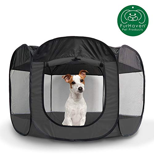 Furhaven Pet Playpen   Indoor/Outdoor Mesh Open-Air Playpen & Exercise Pen Tent House Playground for Dogs & Cats, Gray, Large