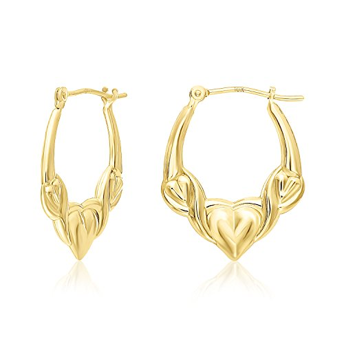 Lightweight and Comfortable Small Size 10k Yellow Gold Heart Hoop Earrings (Style-02)