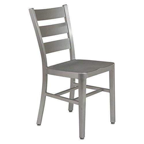 LeisureMod Delmar Modern Aluminum Dining Chair in Silver