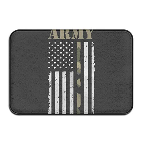 tdoor,Indoor/Outdoor Decorative Washable Garden Office Door Mat with Non Slip Backing Inside & Outside Area Rug Floor Mat USA Army Flag Design Pattern Kitchen Bathroom White ()